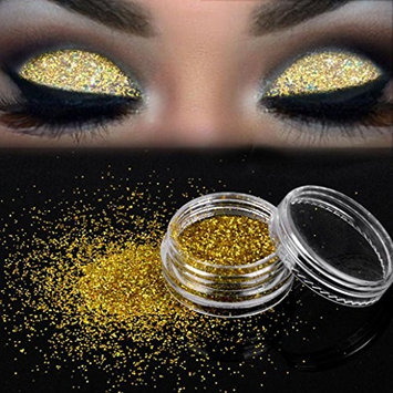 Sparkly Eyeshadow,YOYORI Glitter Eye Shadow Loose Gold Pigment Highlighter Natural Cosmetic for Naked Natural Nude Bronze or Smokey Eye Makeup (G
