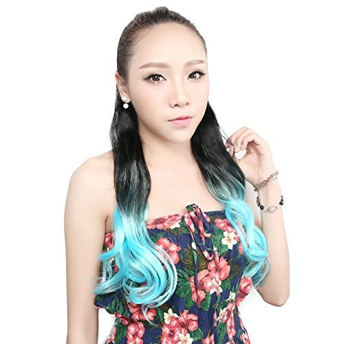 "Neitsi 23"" (58cm) 120g Body Wave Hairpiece Wrap Synthetic Clip in Hair Extensions Two Tone (Blue)"