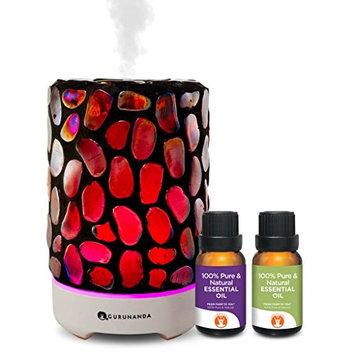 Essential Oils Starter Kit - Dark Mosaic Ultrasonic Diffuser, Aromatherapy Best Oil Diffuser, Essential Oils Diffuser Kits, Color Changing, Humidifier, Essential Oils Set, Auto Shutoff, GuruNanda