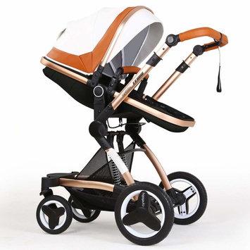 Infant Stroller Newborn Baby Carriage Toddler Seat Strollers Luxury Single Bassinet Baby Stroller Folding Compact Pram Stroller Urban Pushchair (White Brown)
