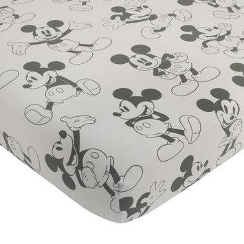 Disney Mickey Mouse Fitted Mini Crib Sheet, Grey & Black