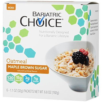 Bariatric Choice High Protein Oatmeal/Instant Low-Carb Hot Oatmeal Diet Cereal - Maple Brown Sugar (6 Servings/Box) - Low Fat, Low Carb, Cholesterol Free