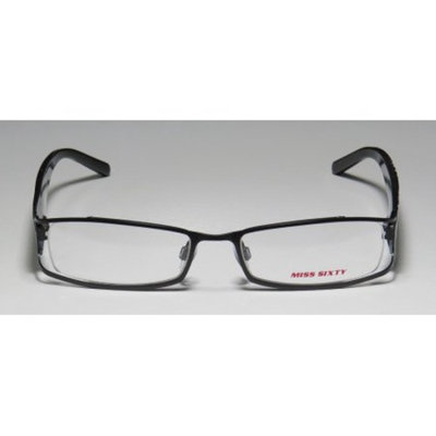 Miss Sixty Mx265 Womens/Ladies Designer Full-Rim Black / White Frame Demo Lenses 51-17-130 Flexible Hinges Eyeglasses/Eyewear