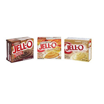 Seasonal Holiday Pudding and Pie Filling Bundle: Jell-O Instant Pumpkin Spice, Coconut Cream, and Chocolate Pudding
