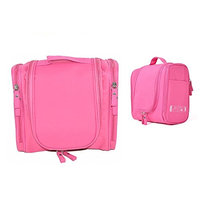Cuteboom Hanging Travel Toiletry Bag for Men & Women Waterproof Makeup Bags Large Capacity Cosmetic Case Organizer for Travel Travel Shower Bag with Mesh Pockets & Sturdy Hook (Rose)