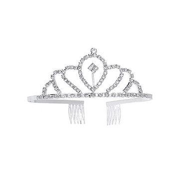 Princess Party Supplies, YUE DOU XIONG Girl Crown Tiara for Wedding Brithday Party Crystal Headband (Silver)
