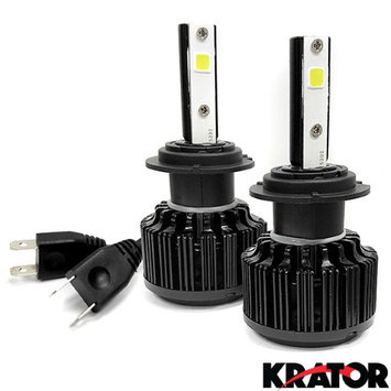 Krator LED H7 Headlight Conversion Bulbs 40W 4000LM Light Bulb Xtra Bright 6000K White with Built-In Turbo Cooling Fan