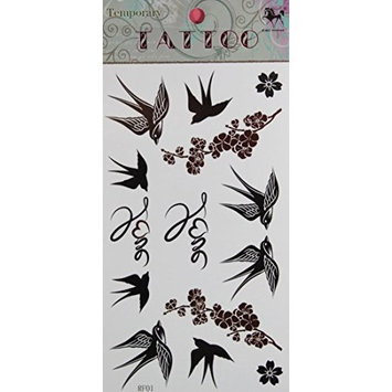 GRASHINE hot selling Waterproof and non toxic Swallow and Plum temporary tattoo stckers by Grashine