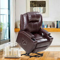 Power Lift Recliner Chair with Deluxe Bonded Leather, Heavy Duty Steel Lounge Sofa for Living Room, Brown