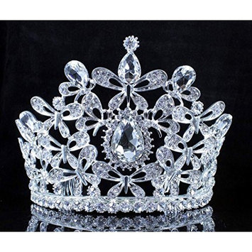 Janefashions BUTTERFLY CLEAR AUSTRIAN CRYSTAL RHINESTONE TIARA WITH HAIR COMBS CROWN T2309