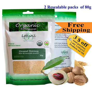 Certified Organic 160g Gourmet Powder Nutmeg (2 packs of 80g)