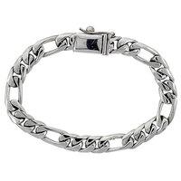 Worldjewels Gent's Sterling Silver Figaro Link Bracelet Handmade 3/8 inch wide, 8 1/2 inch (21.6cm)