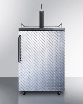 Summit SBC635MDPL Commercial 5.7 cu. ft. Freestanding Beer Dispenser with Diamond Plated Door Auto Defrost and Digital