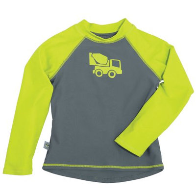 One Step Ahead Sun Smarties Baby and Toddler Boy Rashguard - Grey and Green Truck - Long Sleeve