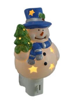 Zeckos Starry Snowman Porcelain Plug In Night Light