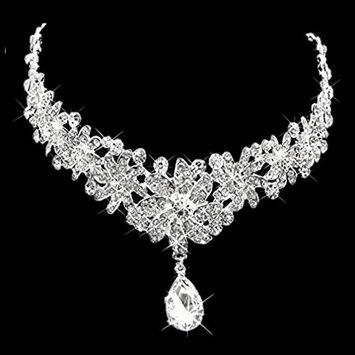 Carinloing's Lady Hair Rhinestones Flowers Headdress Tiara Wedding Bridal Wear Jewelry Frontlet with Back Chain