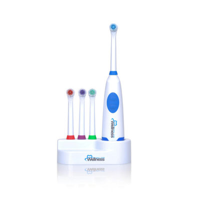 Wellness Oral Care Battery Powered Oscillating Family Electric Toothbrush with 4 Replacement Brush Heads, 2 AA Batteries and Countertop Holder