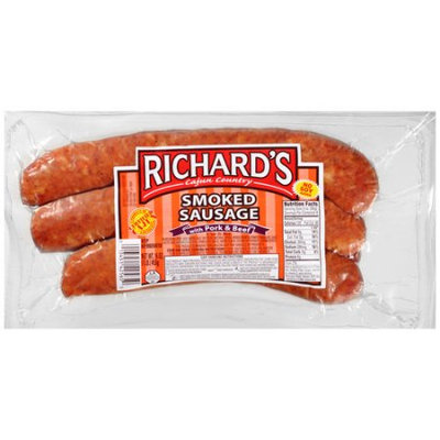 Richards Cajun Foods 1# Smoked Pork & Beef Sausage