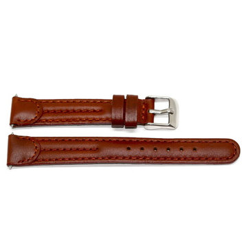 14MM BROWN STITCHED PADDED LEATHER WATCH BAND STRAP FITS WENGER BATTALION