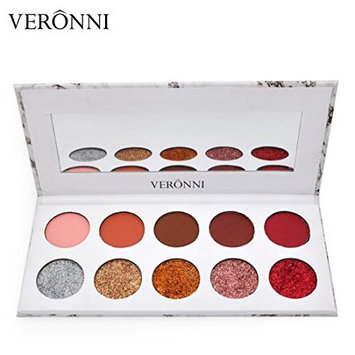 Veronni 10 Colors Eyeshadow Waterproof Matte+Glitter Pressed Eyeshadow Palette