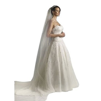 Shop Ginger Wedding 1T Cathedral Royal Cut Edge Bridal Veil Extra Wide Handmade USA [Glimmer Diamond White, Cathedral]