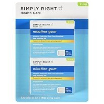 Simply Right Original Flavor Nicotine Gum 2mg 2 x 160 ct 320 Total Pieces