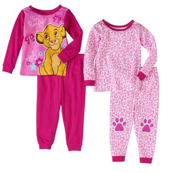 The Lion King Lion King Newborn Baby Girls' Cotton Tight Fit Pajamas, 4-Piece Set