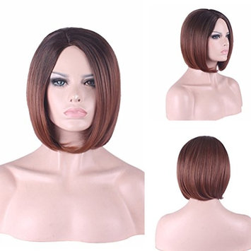 Women's Short Bob Carve Full Hair Wig Two Tone Brown Dark Root to Wine Red Ombre