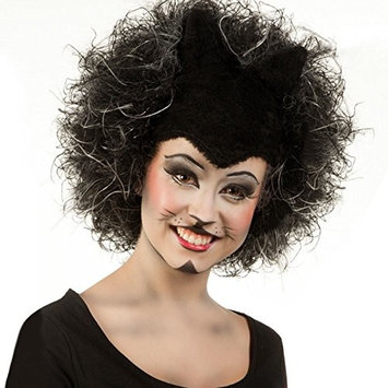 Black Frizzy Wig with Cat Ears Halloween Witches Kitty Theatrical Cat Wig Hair Silicone Ear Theatre Puss Cat Cats Musical Headdress Lloyd West End Grizabella Wig Memory