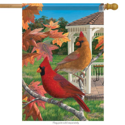 Flagtrends Crimson Afternoon Cardinals House Flag Fall Decorative 2 Sided 28' x 40'