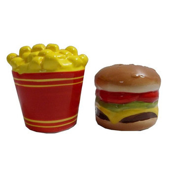 Ceramic Salt & Pepper Shaker Fun Magnets - Cheeseburger and French Fries