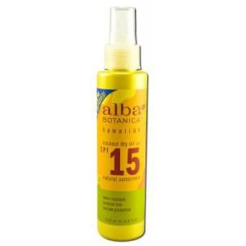Alba Botanica: Natural Hawaiian Dry-Oil Sunscren Coconut Oil SPF 15, 4.5 oz