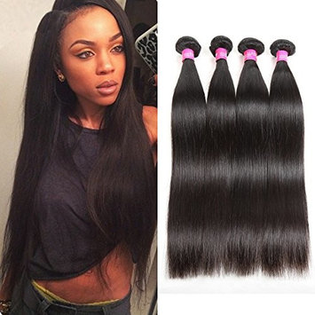 ISEE Hair 8A Malaysian Virgin Straight Hair 4 Bundles 100% Unprocessed Human Hair Weave Bundles Human Hair Extensions 4 Bundles Deal Natural Black 20 20 22 22inches []