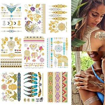 HairPhocas Metallic Temporary Tattoos, Flash Tattoos, 9 Sheets, 150+ Designs Temp Tattoos- Bracelets, Feathers, Wrist and Arm Bands