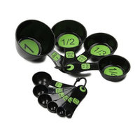 Measuring Combo Set of 4 Cups and 6 Spoons - Large-Print - Black-Green