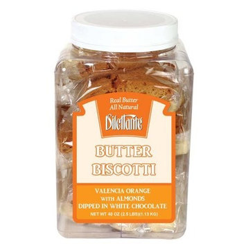 Valencia Orange Biscotti Dipped in White Chocolate - All Natural, Individually Wrapped - 18 Pieces - by Dilettante