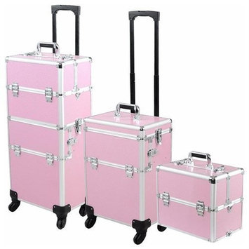 4-Wheel 2-In-1 Makeup Cosmetic Train Rolling Case (PINK)