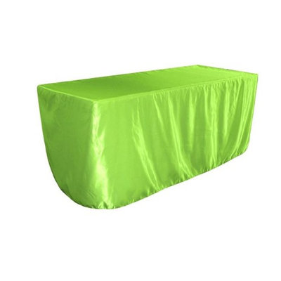 LA Linen TCbridal-fit-96x48x30-LimeB84 Fitted Bridal Satin Tablecloth Lime - 96 x 48 x 30 in.