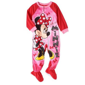 Minnie Mouse Toddler Girls' Micro Fleece Footed Pajama
