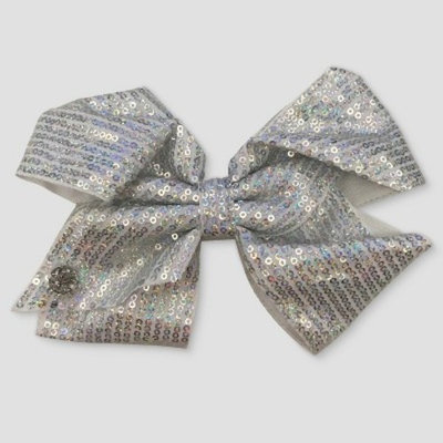 Girls' Nickelodeon JoJo Siwa Silver Sequined Bow Hair Clip - White