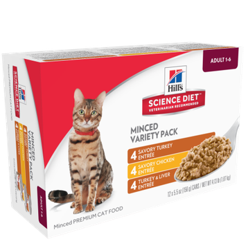 Hills Hill's Science Diet Adult Entre Can Variety Pack Wet Cat Food, 5.5 oz, Pack of 12