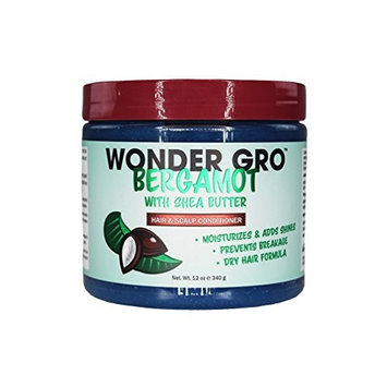 Wonder Gro Bergamot with Shea Butter Hair & Scalp Styling Conditioner, 12 fl oz - Moisturizes & Adds Shine, Prevents Breakage - Best Dry Hair Formula