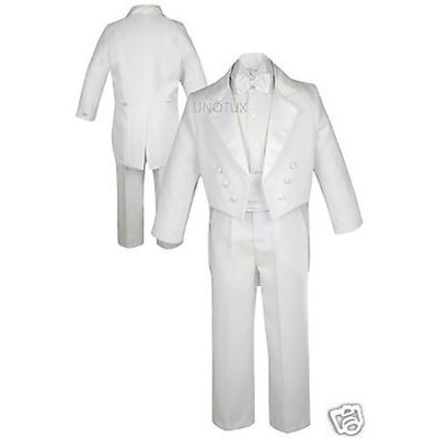 5pc Baby Toddler Boy Wedding Party Baptism Formal Tail Tuxedo Suit White sz S-20