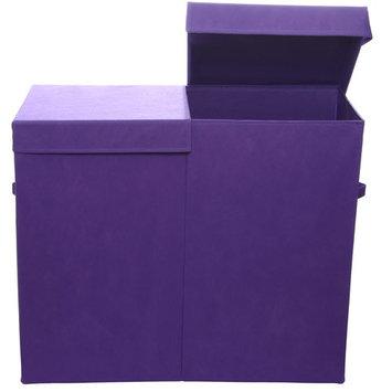 Modern Littles Color Pop Folding Double Laundry Basket, Solid Purple