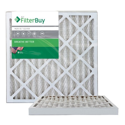 AFB Silver MERV 8 23.5x23.5x2 Pleated AC Furnace Air Filter. Filters. 100% produced in the USA. (Pack of 2)