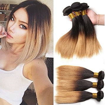 XCCOCO Hair Ombre Straight Hair Bundles Dark Roots Honey Blonde End 1b/27# 3 Bundles 300g Unprocessed Brazilain Virgin Remy Human Hair Extensions(10inchx3)