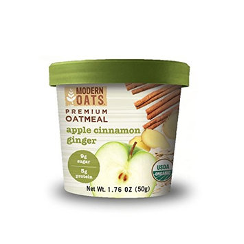 Modern Oats Premium Organic Oatmeal Cups, Apple Cinnamon Ginger, 1.76 Ounce (12 Count) USDA Organic, Gluten-Free, Non-GMO, Whole Grain, 5g Protein Per Cup