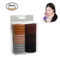 No-damage Hair Elastics 24 Pack Large Soft Hair Tie Stretch Ponytail Band No Slip Rope Seamless Cotton Stretch Ponytail Holders Headband for Thick Heavy Long and Curly Hair Multicolor in Brown Color