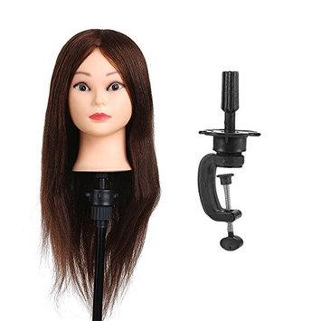 Anself 100% Real Human Hair Training Head Hair Practice Manikin Head Hairdressing Dummy Salon Head With Hair Clamp Holder