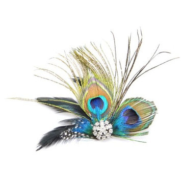 Simplicity Peacock Feather Hair Clip w/ Rhinestones [Natural]